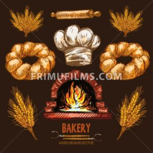 Digital color vector detailed line art golden braided bread, rolling pin, wheat, chef hat and red brick oven with woods on fire hand drawn set. Vintage ink flat, engraved doodle sketches. Isolated - frimufilms.com