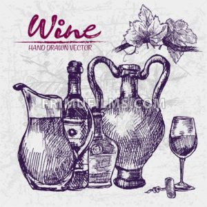 Digital color vector detailed line art wine old ancient pitchers, bottle, glass half full and leaves hand drawn retro illustration set. Vintage ink flat, engraved doodle sketches. Vineyard background - frimufilms.com