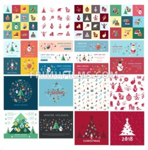 Digital vector christmas and new year holidays bundle set collection decoration objects color simple flat icon with fir tree, isolated - frimufilms.com