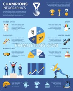 Digital vector winter games objects color simple flat icon set collection, champions infographics, isolated - frimufilms.com