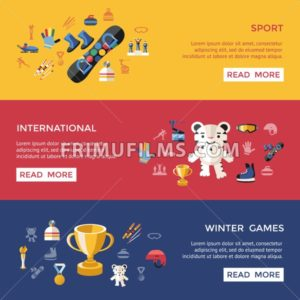 Digital vector winter games objects color simple flat icon set collection, isolated - frimufilms.com