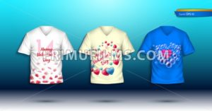Happy Valentine Day T-shirts Vector realistic. detailed volumed shirts with prints - frimufilms.com