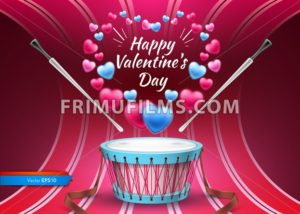 Valentine day card with drum Vector realistic. Colorful hearts background - frimufilms.com