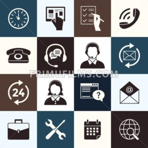 Digital call center and customer support objects color simple flat icon set collection, isolated - frimufilms.com