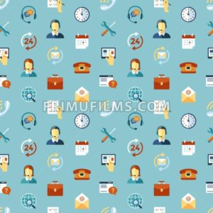 Digital call center and customer support objects color simple flat icon set collection, isolated seamless pattern - frimufilms.com