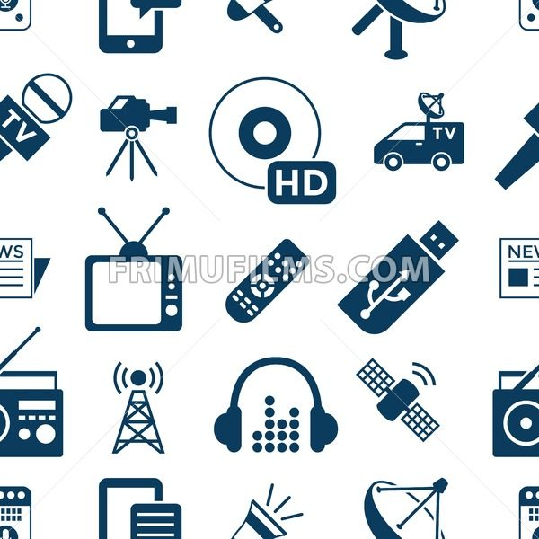 Digital mass media objects color simple flat icon set collection, isolated seamless pattern - frimufilms.com