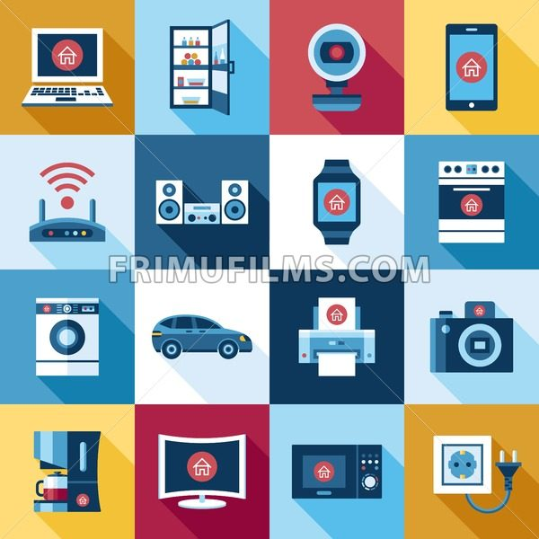Digital smart flying internet of things concept objects color simple flat icon set collection, isolated - frimufilms.com