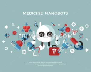 Digital smart medical nano robots concept objects color simple flat icon set collection, isolated healthcare, dna pills and implants infographics - frimufilms.com