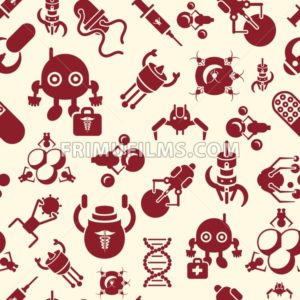 Digital smart medical nano robots concept objects color simple flat icon set collection, isolated healthcare, dna pills and implants, seamless pattern - frimufilms.com