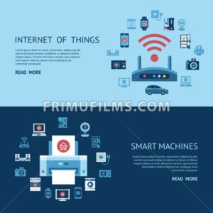 Digital vector blue internet of things concept objects color simple flat icon set collection, isolated - frimufilms.com
