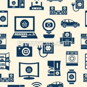 Digital vector blue internet of things concept objects color simple flat icon set collection, isolated seamless pattern - frimufilms.com