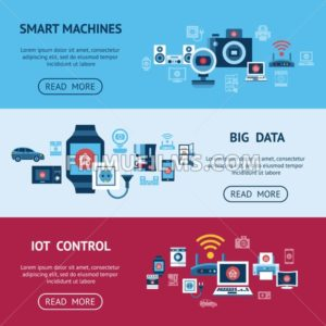 Digital vector blue internet of things smart machines concept objects color simple flat icon set collection, isolated - frimufilms.com