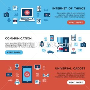Digital vector red internet of things control infographics concept objects color simple flat icon set collection, isolated - frimufilms.com