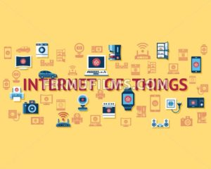 Digital vector yellow internet of things concept objects color simple flat icon set collection, isolated - frimufilms.com