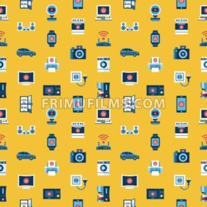 Digital vector yellow internet of things concept objects color simple flat icon set collection, isolated seamless pattern - frimufilms.com