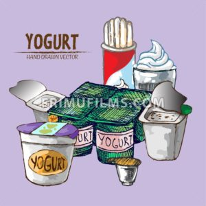 Digital vector detailed line art yogurt with whipped cream hand drawn retro illustration collection set. Thin artistic pencil outline. Vintage ink flat, engraved mill doodle sketches. Isolated - frimufilms.com