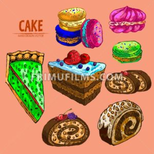 Digital vector detailed line art cake and roll slices with fruits hand drawn retro illustration collection set. Thin artistic pencil outline. Vintage ink flat, engraved design doodle sketches - frimufilms.com