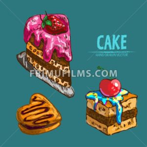 Digital vector detailed line art cake slices with fruits hand drawn retro illustration collection set. Thin artistic pencil outline. Vintage ink flat, engraved design doodle sketches. Isolated - frimufilms.com