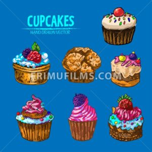 Digital vector detailed line art cupcakes with fruits hand drawn retro illustration collection set. Thin artistic pencil outline. Vintage ink flat, engraved design doodle sketches. Isolated - frimufilms.com