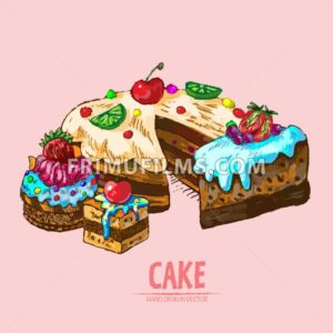 Digital vector detailed line art sliced cake with fruits hand drawn retro illustration collection set. Thin artistic pencil outline. Vintage ink flat, engraved design doodle sketches. Isolated - frimufilms.com