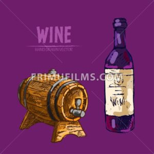 Digital vector detailed line art wine bottle and wood barrel hand drawn retro illustration collection set. Thin artistic pencil outline. Vintage ink flat, engraved design doodle sketches. Isolated - frimufilms.com
