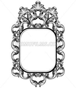 Baroque mirror frame. Vector Imperial decor design elements. Rich encarved ornaments line art - frimufilms.com