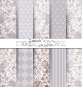 Damask patterns set collection Vector. Baroque ornament on modern abstract background. Vintage decor. Trendy color fabric texture - frimufilms.com