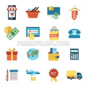 Digital vector line icons set mobile shopping and store illustration with elements for online electronic commerce - frimufilms.com