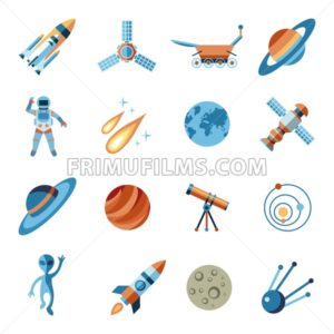 Digital vector line icons set space and rockets illustration with elements for astronomy - frimufilms.com