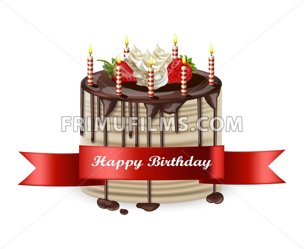 Birthday Cake Images Vektor ~ Happy birthday cake vector realistic d detailed illustration