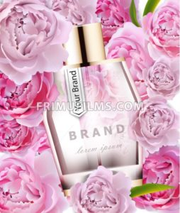Vector realistic pink perfume bottle mock up. Product packaging detailed cosmetic. Peonies flowers background illustration - frimufilms.com