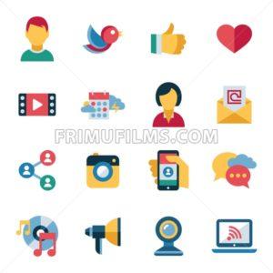 Digital vector social media and communication network icon set - frimufilms.com