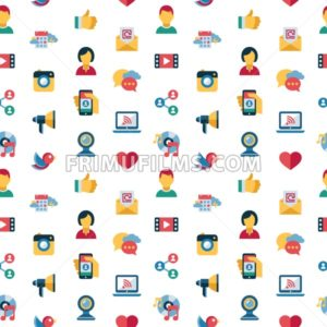 Digital vector social media and communication network icon set, seamless pattern - frimufilms.com