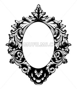 Round Frame Vector. Classic rich ornamented carved decors. Baroque sophisticated design - frimufilms.com