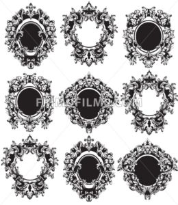 Vintage Frames set Vector. Classic rich ornamented carved decors. Baroque sophisticated intricate design repetition - frimufilms.com