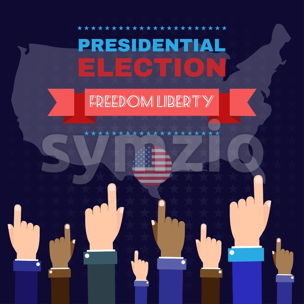 Digital vector usa election with hand in the air pointing, freedom liberty, flat style Stock Vector