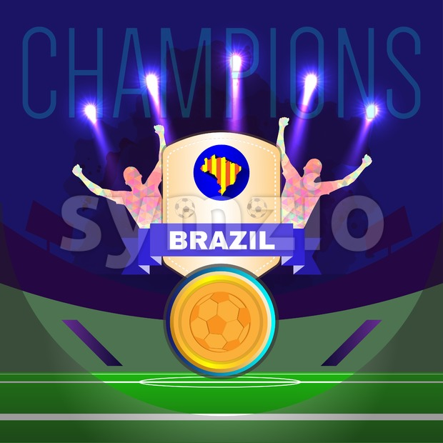 Digital vector, football and soccer brazil champions, gool, abstract sportsmen with hand in the air, stadium with lights Stock Vector