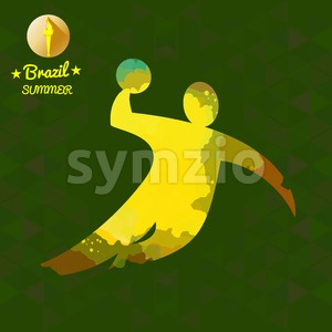 Brazil summer sport card with an yellow abstract volley player jumping. Digital vector image Stock Vector