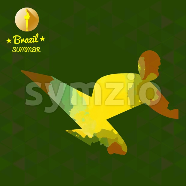 Brazil summer sport card with an yellow abstract sportsman fighting and performing a kick. Digital vector image Stock Vector