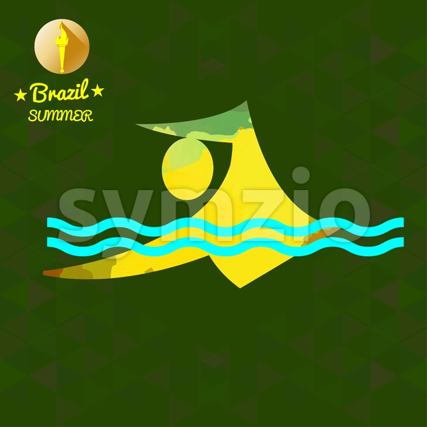 Brazil summer sport card with an yellow abstract swimmer. Digital vector image Stock Vector