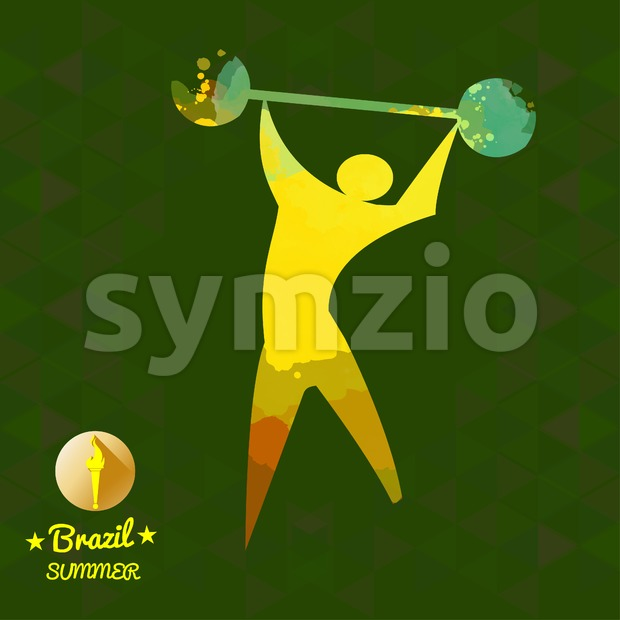 Brazil summer sport card with an yellow abstract sportsman. Digital vector image Stock Vector
