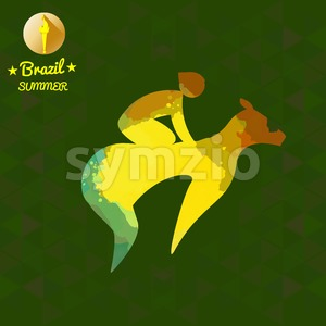 Brazil summer sport card with an yellow abstract horse rider. Digital vector image Stock Vector