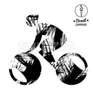 Brazil summer bicycle sport card with an abstract character cycling, in black outlines. Digital vector image Stock Vector