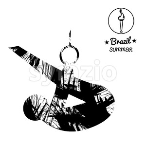 Brazil summer sport card with an abstract sportsman performing gymnastics on rings, in black outlines. Digital vector image Stock Vector