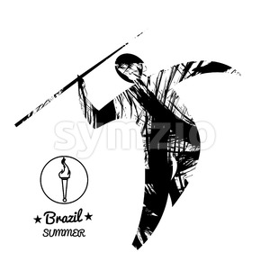 Brazil summer sport card with an abstract spear thrower, in black outlines. Digital vector image Stock Vector