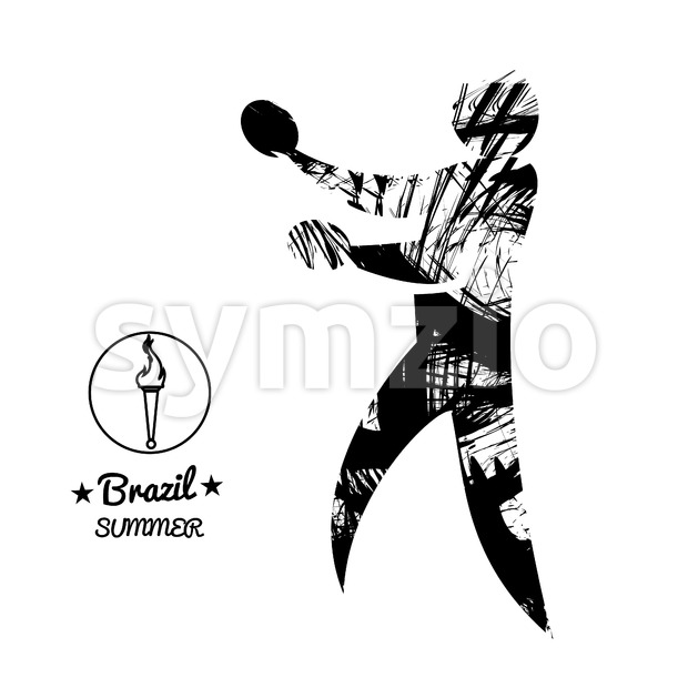 Brazil summer sport card with an abstract table tennis player, in black outlines. Digital vector image Stock Vector