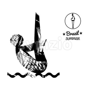Brazil summer sport card with an abstract sportsman jumping in water, in black outlines. Digital vector image Stock Vector