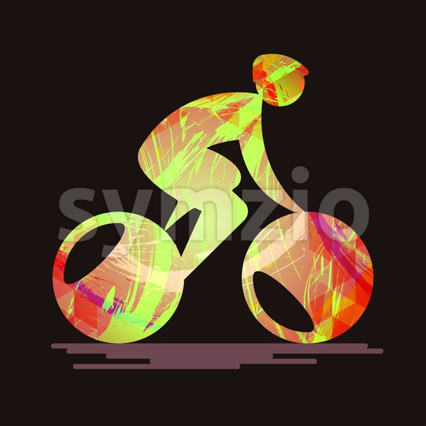 Bicycle sport card with an abstract character cycling, splash paint and flat style. Digital vector image Stock Vector