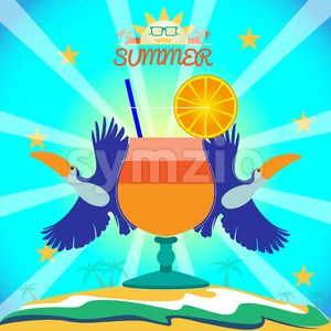 Abstract summer card with toucan birds and a cocktail on sand and sea background. Digital vector image Stock Vector