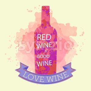 Red wine tasting and love card, bottle with inscription over a colored background with water color. Digital vector image. Stock Vector